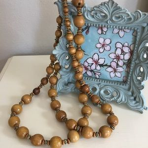 Jewelry - Wood and beaded necklace.